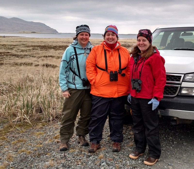 The Sitka Birders, Vicky, Jen, and Kitty.