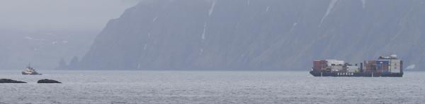 Barge leaving Adak, May 28, 2013