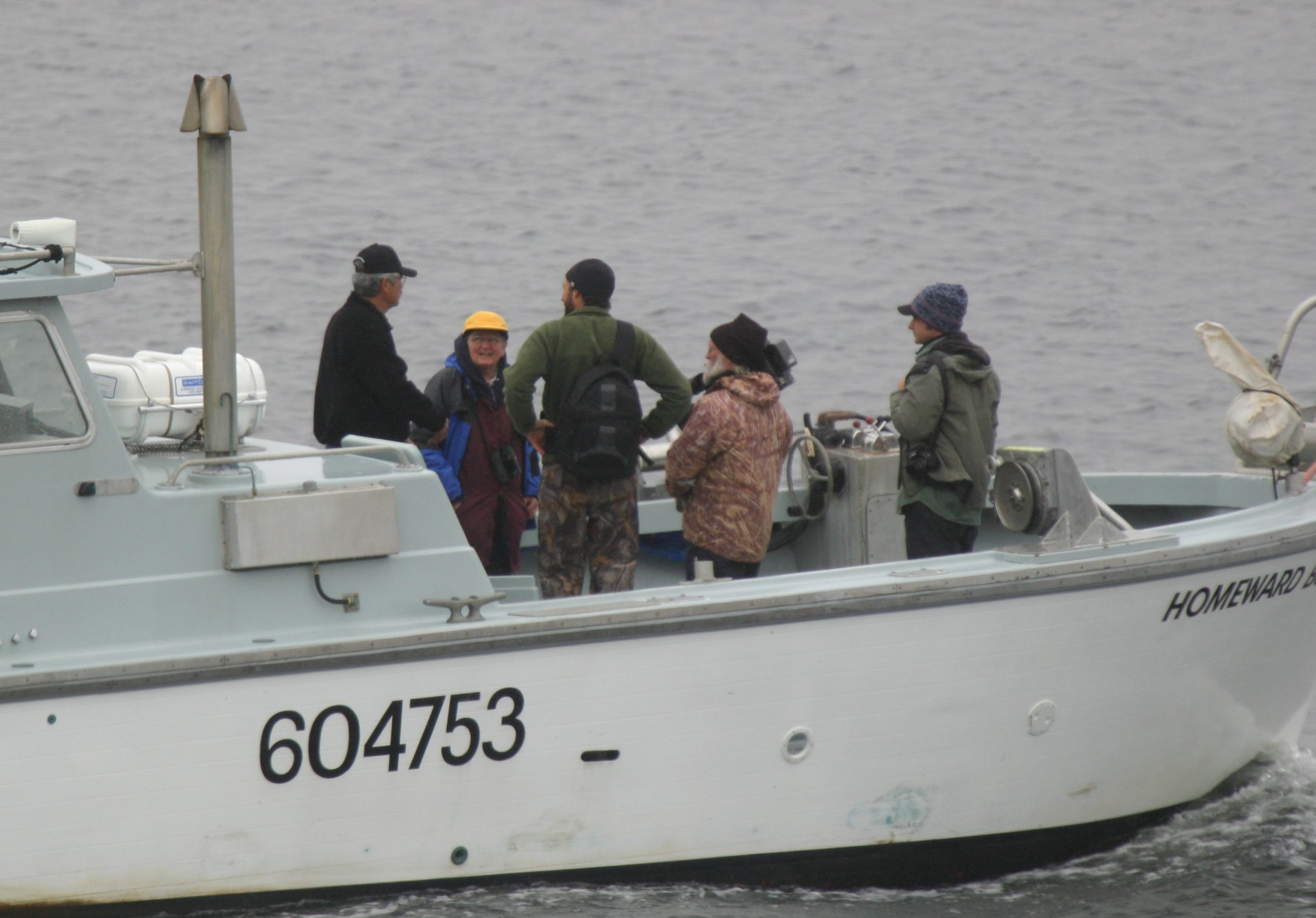 Homeward Bound heading out to the auklets, May 30, 2007, (Left to right) Al Giddings, Barb, Nick, Tim, John.