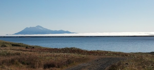 Fog bank rolling out towards Mount Sitkin, Sept 18, 2013.